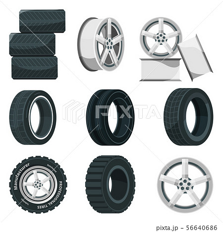 Icon set of different disks for wheels and tires. Vector pictures set in cartoon style 56640686