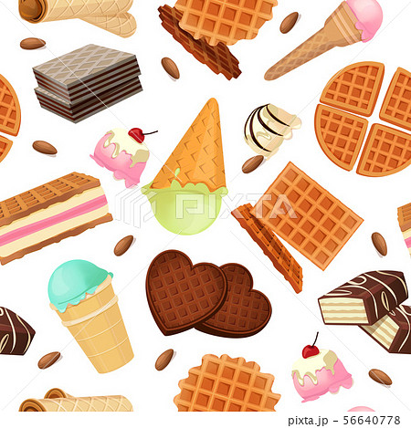 Seamless pattern from vaffel desserts and sweets 56640778