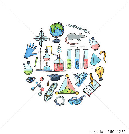 Vector sketched science or chemistry elements in form of circle illustration 56641272