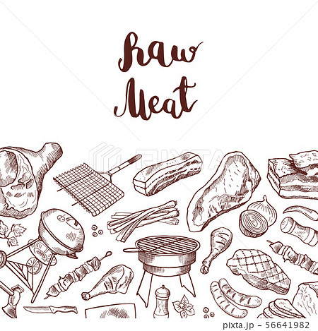 Vector hand drawn meat elements background illustration with lettering 56641982