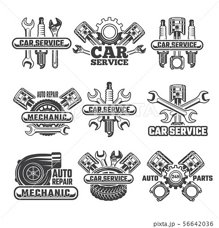 Design template of labels and badges with automobile tools and details 56642036