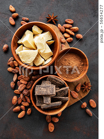 Cocoa beans, butter and chocolate 56654277