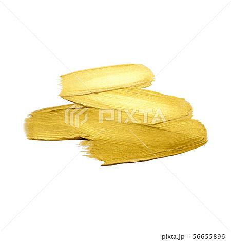 Golden paint brush stroke on white background 56655896