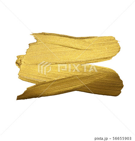 Golden paint brush stroke on white background 56655903