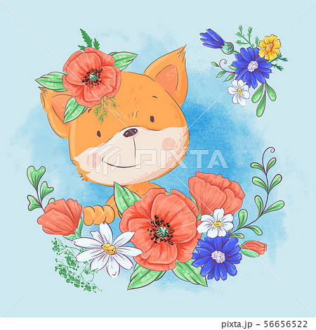 Cartoon cute fox in a wreath of red poppies and cornflowers, wildflowers. Vector illustration 56656522