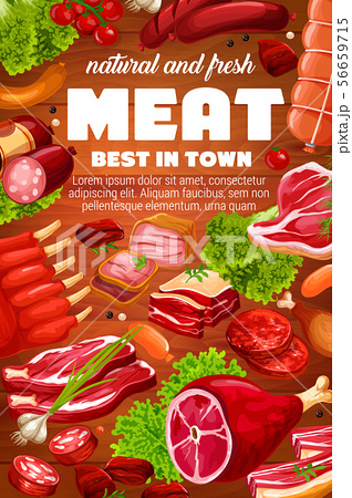 Butchery meat, beef and pork gourmet sausages 56659715