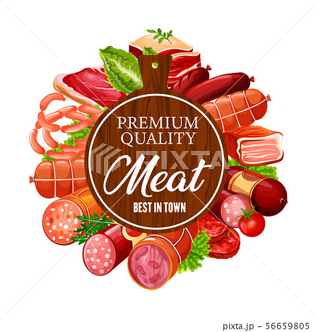 Butchery beef and pork meat, gourmet sausages 56659805