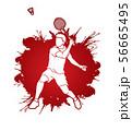 Badminton player action cartoon graphic vector. 56665495