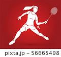 Badminton player action cartoon graphic vector. 56665498