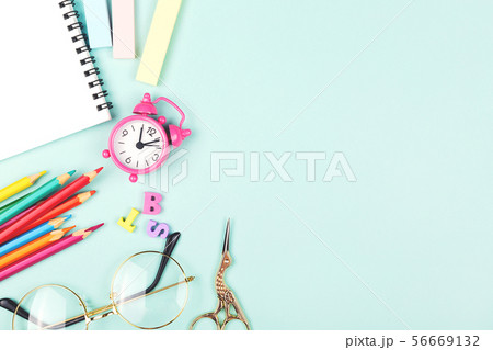 School or office supplies on a desk with copy 56669132