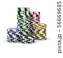 3d Illustration of casino chips isolated on white 56669685