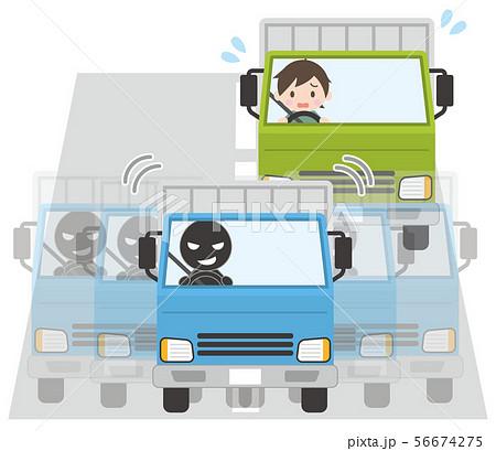 蛇行運転で後続車(トラック)の運転を妨害するトラック 56674275