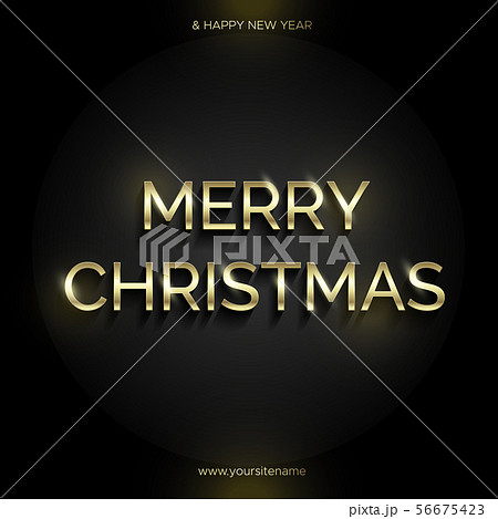 Golden text on black background. Merry Christmas 56675423