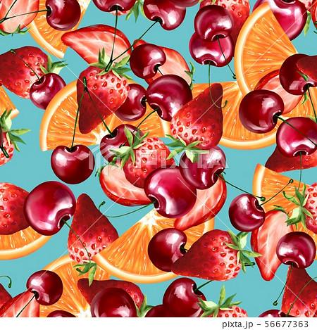 Seamless pattern with orange, strawberry and cherry 56677363