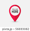 You are here sign icon mark. Destination or location point concept. Pin position marker design 56693082