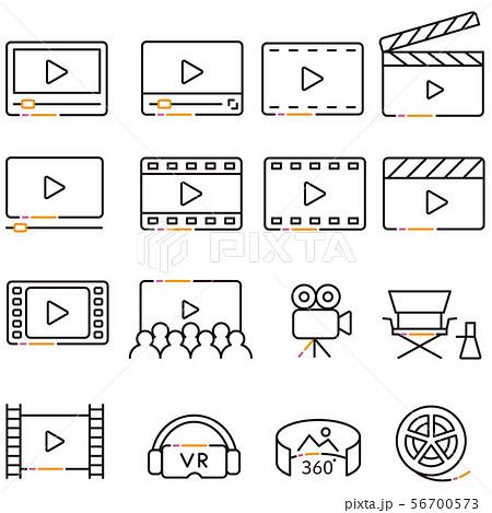 3色の線画の動画アイコン 56700573