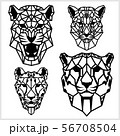Cheetah and panter - animal heads icons. Vector geometric illustrations of wild life animals. 56708504