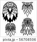 Eagle and Owl - animal heads icons. Vector geometric illustrations of wild life animals. 56708506