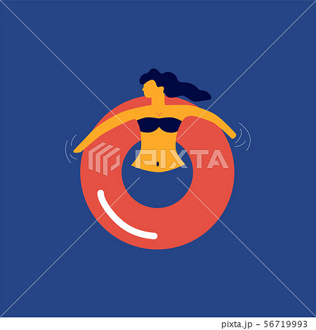 Woman floating relaxing on the red rubber ring 56719993