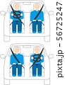 左ハンドルと右ハンドルの乗用車。ベクター画像。 56725247