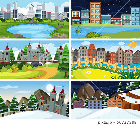 A set of outdoor scene including building 56727588