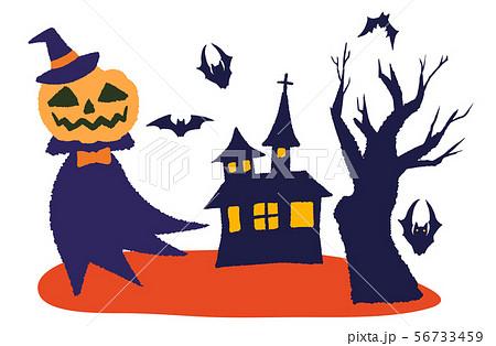 ハロウィン お化けカボチャと魔女の家 56733459