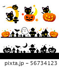 ハロウィン素材・月と黒猫とカボチャおばけジャック・オー・ランタン  56734123