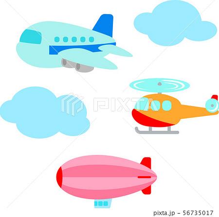 飛行機、ヘリコプター、飛行船のイラストセット 56735017