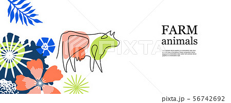 Horizontal agricultural banner. Cow drawn in one line. 56742692