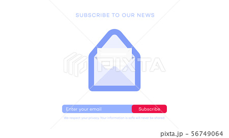 Email subscribe to latest news. Website element with e-mail subscribition form. 56749064