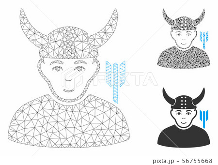 Horned Warrior Vector Mesh Network Model and Triangle Mosaic Icon 56755668
