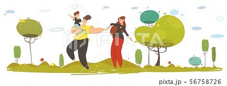 Happy Craft Family Walking on Nature Flat Cartoon 56758726
