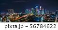 シンガポールの都市風景 夜景 ワイドパノラマ 56784622