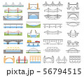 Types of bridges set. Color and linear graphic 56794515