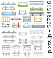 Types of bridges set. Color and linear graphic 56794516