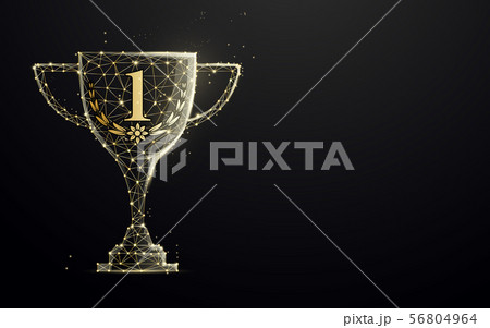 Golden trophy cup from lines and particle 56804964