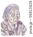Drawing of aged Asian woman on white background. 56813826