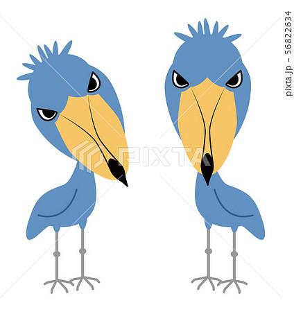 動かない鳥 ハシビロコウ イラスト みやもとかずみ 56822634