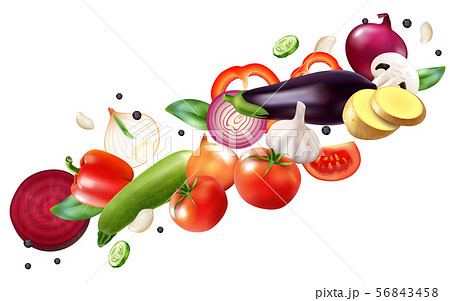 Flying Vegetables Realistic Composition 56843458