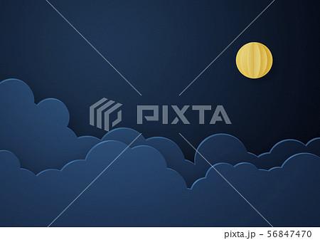 ペーパークラフト-満月-雲-夜-夜空 56847470