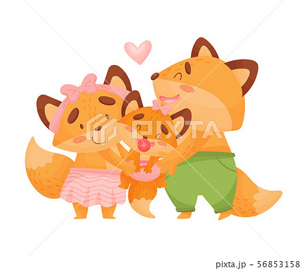 Mom and dad fox hug baby. Vector illustration on a white background. 56853158
