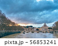 St. Peter's cathedral and Tiber river at evening 56853241