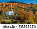 Iconic New England church in Stowe town at autumn 56853250