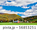 Farm with red barn and silos in Vermont 56853251