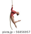 Image of graceful female gymnast hanging on rope 56856957