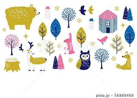寒中見舞い 冬の動物たち 56868468