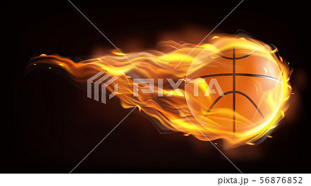 Basketball ball flying in flames realistic vector 56876852