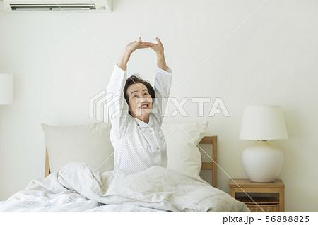 シニア女性 寝起き 56888825
