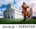 Graphic design dinosaurs model with the Leaning Tower of Pisa 56894568