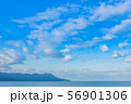 夏の青空と水平線 静岡県沼津市千本浜海岸 56901306